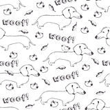 Dogs and birds seamless pattern Stock Image