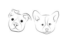Dogs. Black lines drawn little dogs Stock Photography