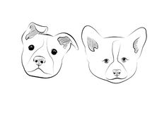 Dogs. Black lines drawn little dogs Stock Photos