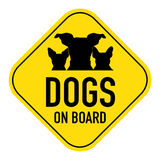 Dogs on board sign Royalty Free Stock Images