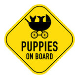Dogs on board sign Stock Image