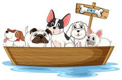 Dogs on boat. Illustration of many dogs on a boat stock illustration