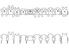 Dogs border line art set. Large dogs, front side and back side royalty free illustration