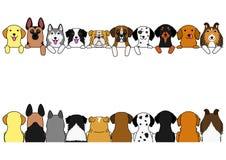 Dogs border set. Large dogs, front side and back side vector illustration