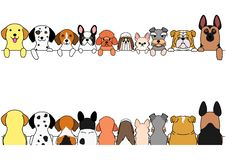 Dogs border set, small and large dogs, front side and back side. Cute dogs border set, various breed, front side and back side vector illustration