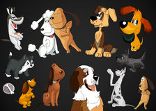 Dogs breeds clipart cartoon style  illustration black Royalty Free Stock Images