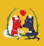 Dogs Bride and Groom Funny Portrait Illustration Stock Photography