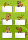 Dogs with cards cartoon design set Stock Image