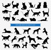 Dogs And Cats Black Silhouette Set Stock Photos