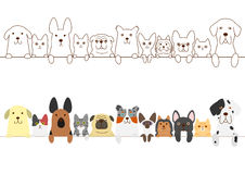Dogs and cats border set Stock Images