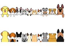Dogs and cats border set, front side and back side. Cute dogs and cats border set, various breed, front side and back side royalty free illustration