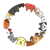 Dogs and cats circle with copy space. Colorful dogs and cats circle with copy space Royalty Free Stock Photos