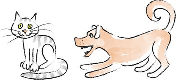 Dogs&Cats_coal-3 royalty free illustration