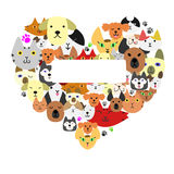 Dogs and cats face in heart-shape Royalty Free Stock Photo