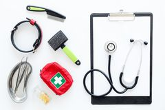 Dogs and cats hospital equipment for pet cure set with stethoscope white background top view Royalty Free Stock Image