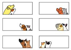 Dogs and cats looking up profile banner set. Various dogs and cats looking up profile pair in a frame set vector illustration