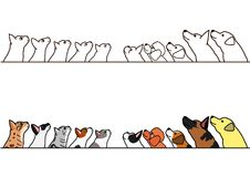 Dogs and cats looking up profile border set. Various dogs and cats looking up profile in a row, with and without color royalty free illustration