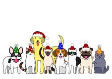 Dogs and cats with party hats. An illustration of a group of cats and dogs wearing party hats stock illustration