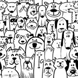 Dogs and cats seamless stock illustration