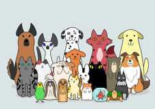 Dogs, Cats and small animals group vector illustration