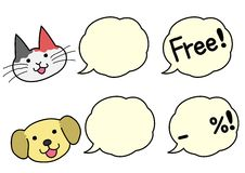 Dogs and cats with speech bubbles Royalty Free Stock Photo
