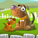 Dogs characters. Cartoon styled vector illustration of old dog and puppy Royalty Free Stock Photo