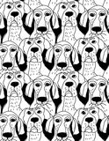Dogs characters emotions black and white seamless pattern. Royalty Free Stock Image