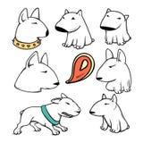Dogs characters pitbull. Funny animals cartoon. Doodle dog. Sticker dog pitbull. Funny character dogs. Set dog  pitbull Stock Photos