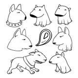 Dogs characters pitbull. Funny animals cartoon. Doodle dog. Sticker dog pitbull. Funny character dogs. Set dog isolated pitbull Royalty Free Stock Photo