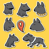 Dogs characters pitbull. Funny animals cartoon. Doodle sticker pets Royalty Free Stock Images