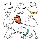 Dogs characters pitbull. Funny animals cartoon. Doodle sticker pets Royalty Free Stock Image