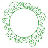 Dogs circle with copy space. Cute dogs circle with copy space royalty free illustration