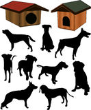 Dogs collection silhouette - vector. Work Royalty Free Stock Photos