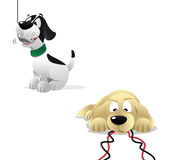 Dogs computers dangers. Cartoon illustration of dogs computers dangers Stock Images