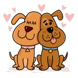 Dogs Couple in Love. Illustration stock illustration