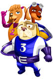 Dogs crew race character cartoon style  illustration white Royalty Free Stock Images