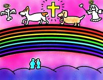 Dogs Crossing The Rainbow Bridge With Angel Guiding. Royalty Free Stock Photos