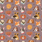 Dogs cute pets heads avatar face seamless pattern background vector Stock Photos