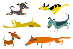 Dogs. Cute dogs set (sleeping,standing,running Royalty Free Stock Image