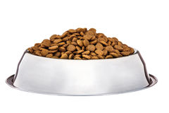 Dogs dry food in the stainless steel bowl Stock Photo