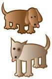 dogs dumbom två stock illustrationer