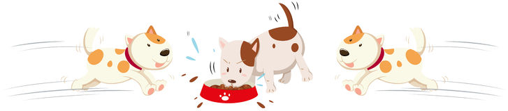 Dogs eating and running around. Illustration vector illustration