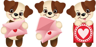 Dogs with envelope and heart postcard Royalty Free Stock Photos