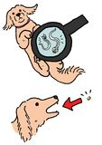 Dogs extermination of worm. A dog getting worm extermination vector illustration