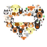 Dogs  face in heart-shape Stock Photo