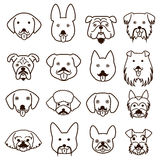 Dogs faces with mustache set Royalty Free Stock Images