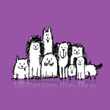 Dogs family, sketch for your design Royalty Free Stock Photography