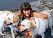 dogs flicka två Royaltyfria Foton