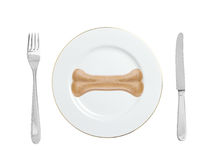 Dogs food bone on a plate with fork and knife isolated on white stock photography