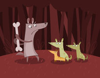 Dogs in the forest. Illustration of dog keeping a bone for himself Royalty Free Stock Images